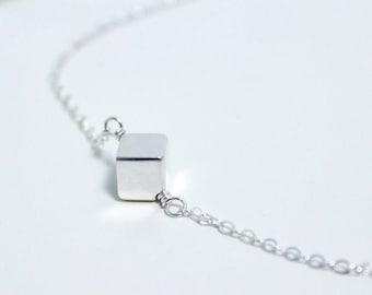 Cube Minimal Necklace Black platinum necklace Aleister Handmade necklace Full Handmade Necklace Adjustable Necklace Modern Necklace