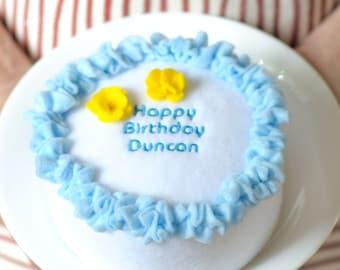 Happy Birthday Mini Cake in Blue Organic Catnip Cat Toy