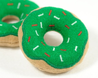 Happy Christmas Donut with Holiday Sprinkles Organic Catnip Cat Toy