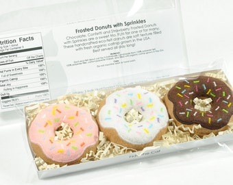 Frosted Donuts with Sprinkles Set Organic Catnip Cat Toy