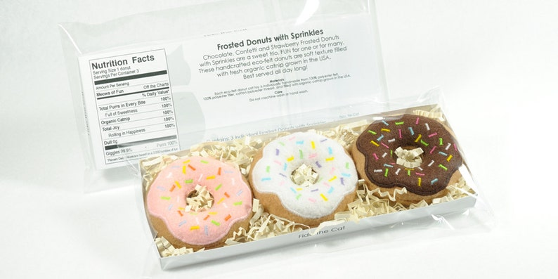 Frosted Donuts with Sprinkles Set Organic Catnip Cat Toy image 0