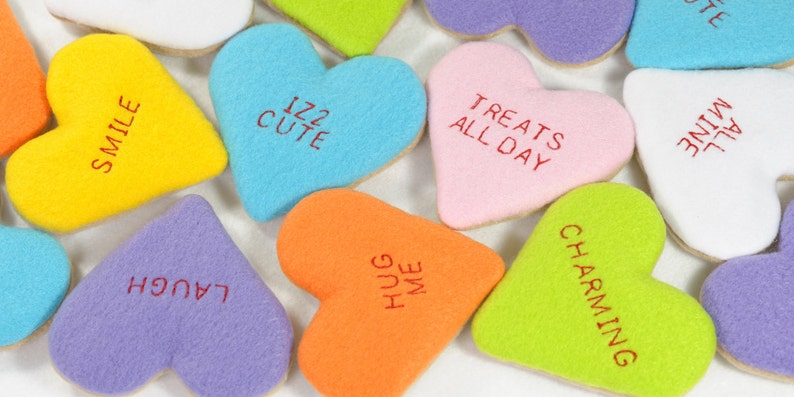 Conversation Heart Cookies Organic Catnip Cat Toy image 0