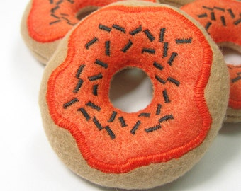 Pumpkin Frosted Donut with Black Sprinkles Organic Catnip Cat Toy