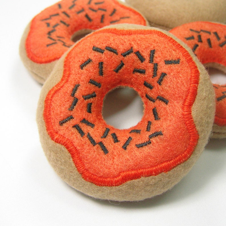 Pumpkin Frosted Donut with Sprinkles Organic Catnip Cat Toy image 0