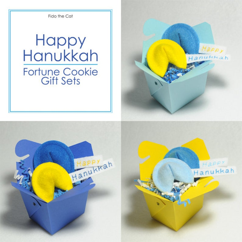 Happy Hanukkah Fortune Cookies Set Organic Catnip Cat Toy image 0