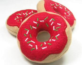 Christmas Morning Donut with Holiday Sprinkles Organic Catnip Cat Toy
