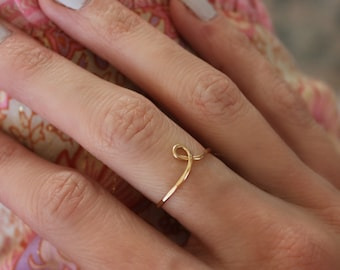 Super Thin Gold Knot Ring Gold Filled Friendship Delicate Ring for Women ID40073