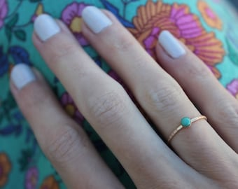 Gold turquoise stacking ring -skinny gold ring, gold and turquoise ring, 14k gold filled ring