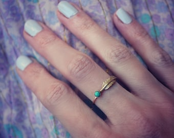 Gold turquoise feather stacking ring -skinny gold feather ring, gold turquoise ring, 14k gold filled ring