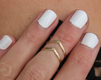 Gold knuckle ring set, gold rings, stacking rings - midi rings, mid finger ring, mid knuckle ring