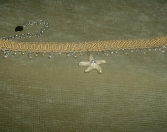 Handcrafted Starfish Pendant with Pearl & Beige Fabric Trim Choker
