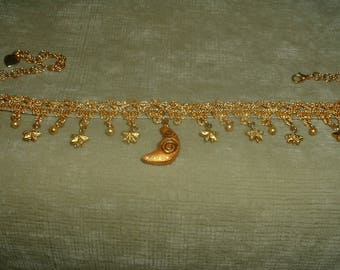 Handcrafted Gold Moon Pendant /Gold Pearls & Stars /Gold Colored Fabric Trim Choker