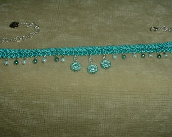Handcrafted Flower & Pearl Turquoise Fabric Trim Choker