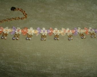Handcrafted Pearl Multicolored Fabric Trim Choker