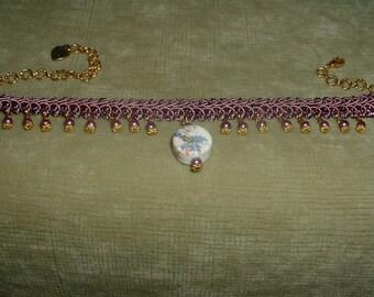 Handcrafted Round Glass Flower Pendant & Pearl Mauve Fabric Trim Choker