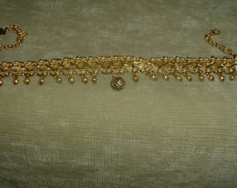 Handcrafted Gold Round Pendant and Pearl / Gold and Black Colored Fabric Trim Choker