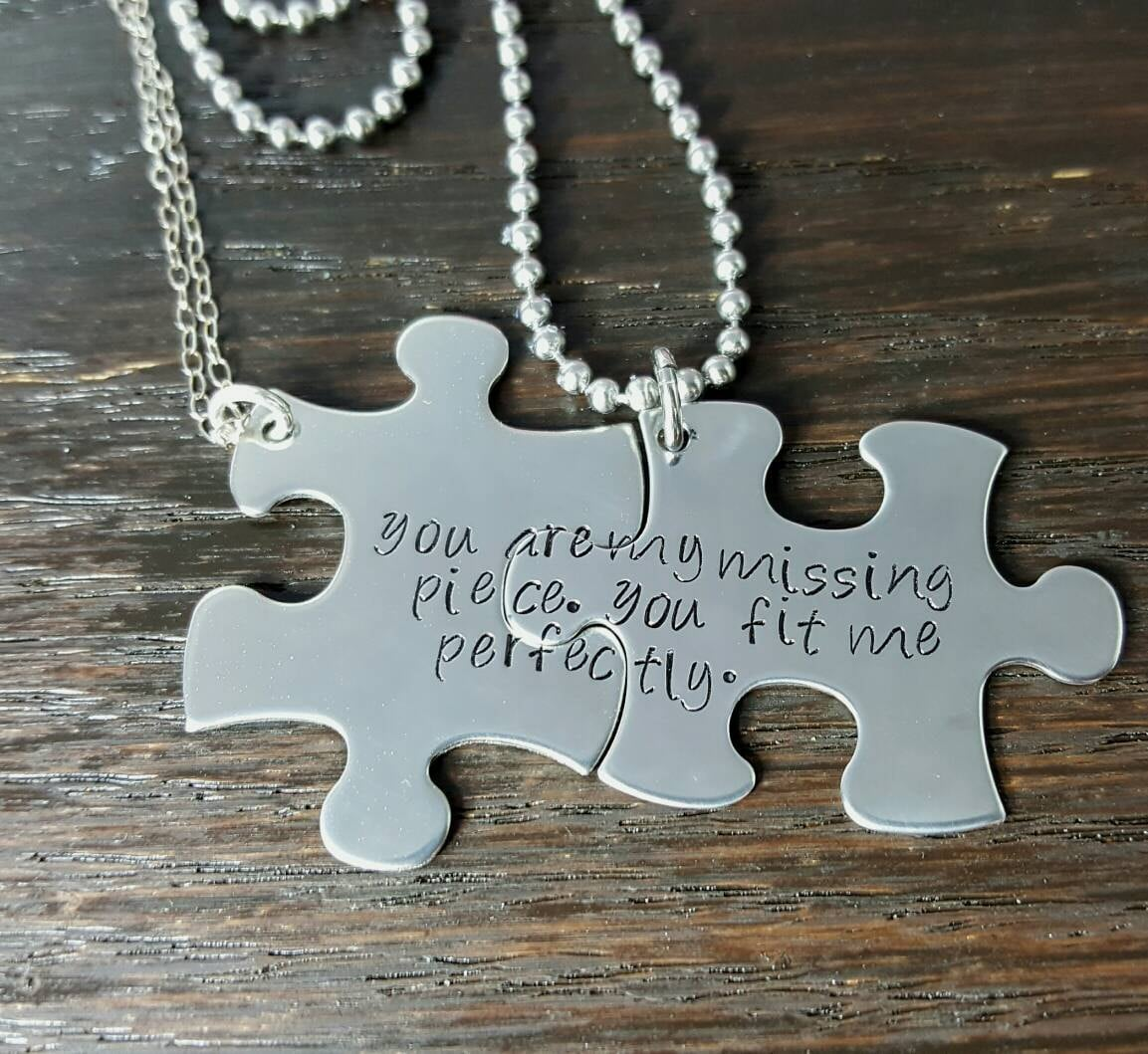 Personalize Your Own His And Her Puzzle Piece Necklace Set