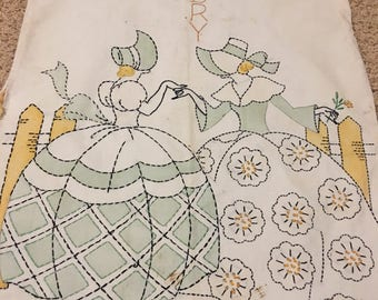 Beautiful Vintage cloth hand embroidered laundry bag for clothespins