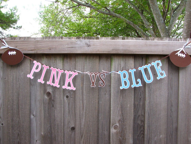 Football Gender Party Pink Vs Blue Reveal Ideas Boy Or Girl Quarterback Cheerleader Touchdowns Tutus