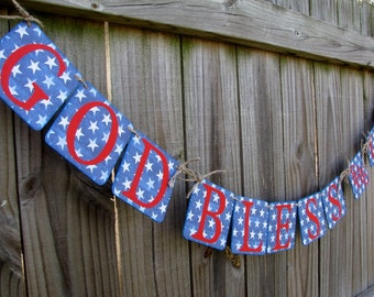 God Bless America Banner, Homecoming Banner, July 4th Banner, Patriotic Banner, Red White and Blue Banner, Stars and Stripes