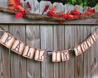 Fall Wedding Garland, Fall In Love Banner, Engagement Banner, Rustic Farmhouse Decor, Rustic Wedding Burlap Decorations, Barn Decor