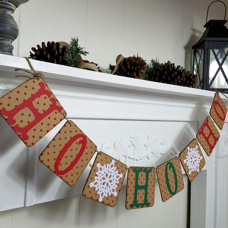 Holiday Decor Snowflakes Garland Red and Green Ho Ho Ho Christmas Winter Garland Holiday Banner