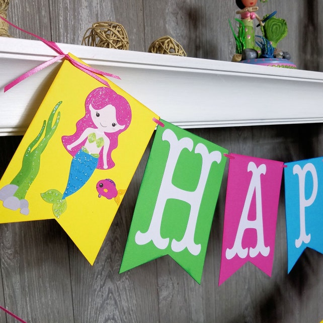 Mermaid Happy Birthday Banner Decorations Party Under The Sea Princess Fantasy