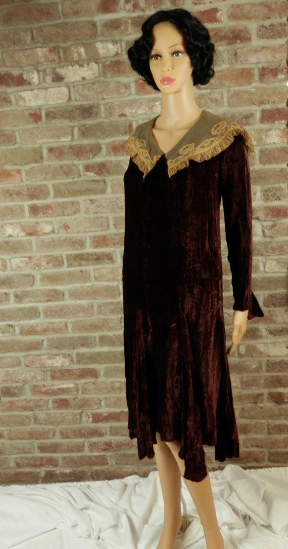 Antique Burgundy Velvet Dress, Lace Collar, Dark B