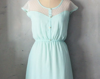 PETIT DEJEUNER SPEARMINT - Soft mint chiffon dress with ivory lace inset // bridesmaid // woodland // romantic // day // party // polka dot