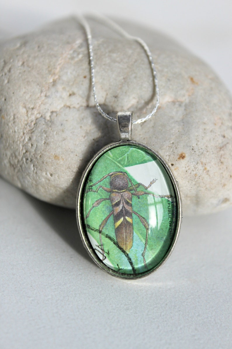 Real Postage Stamp NecklaceInsect-BeetleAntiqued SilverOval Pendant w ChainHandmadeUnique 20 Dollar GiftNature Lover-Gardener-Outdoor
