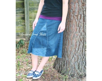 2a90c58acf928 Crystal Knee Length or Midi Denim Skirt Jean made from recycled jeans by  Whimsical Jean Skirts Plus Size available Apostolic Modest Fashion