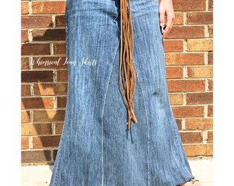 a82ea8c083 Long Denim Skirt Summer Skirt Plus Size Skirt Available Made From Recycled  Jeans