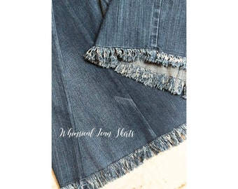 5cea8499e7aa02 Long Denim Skirt With Fringed Hem made from recycled jeans by Whimsical Jean  Skirts plus size maternity jean skirt girls skirts apostolic