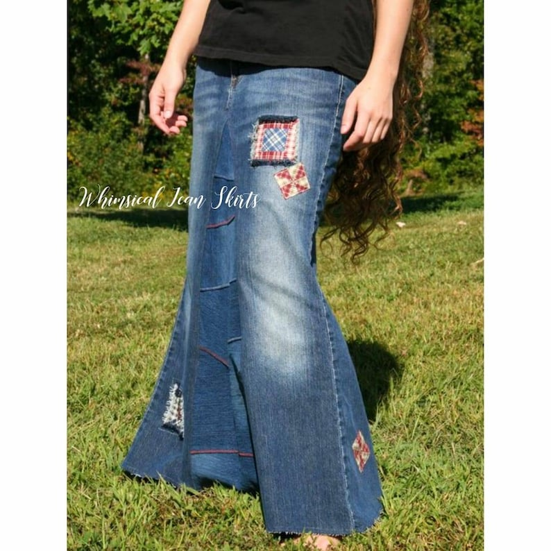 6d60b8bc3c Country Girl Long Denim Skirt with Patches Plus Size Skirt   Etsy