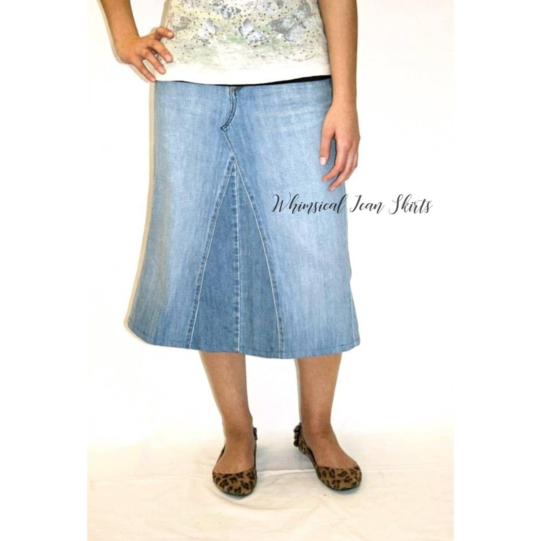 34914ad47186 Denim Skirt Below Knee Midi Plus Size Clothing Apostolic | Etsy