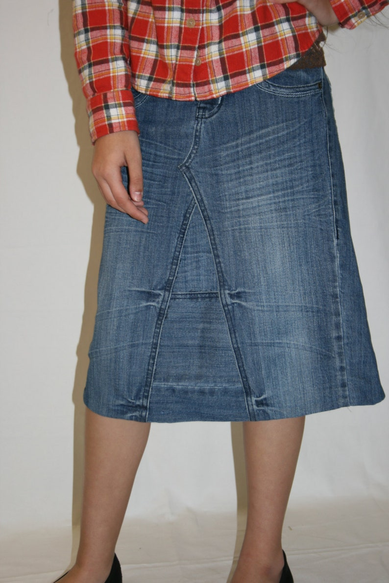Knee Length Denim Skirt Midi Junior and Plus Size Clothing Blue Jean Skirt  Denim Skirts Apostolic Clothing Modest Skirt
