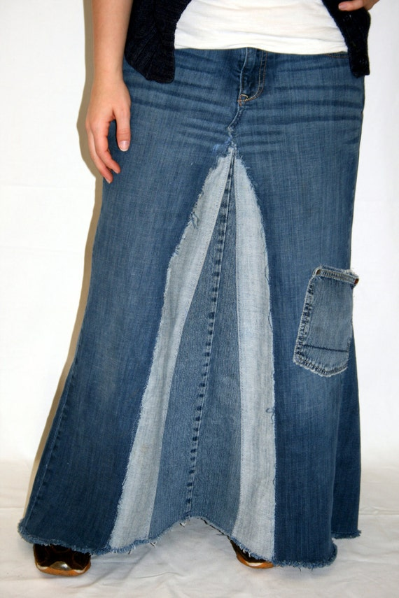 e9ae7b6db9 Distressed Long Denim Skirt with Extra Pocket made from | Etsy