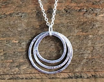 Triple Hoop Sterling Silver Necklace, Hammered Hoops Necklace, Layered Circle Necklace, Sterling Silver Circle Necklace, Hammered Circles