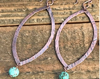 Copper and Gemstone Dangle Earrings, Hammered Copper Gemstone Dangle Earrings, Rustic Hammered Earrings, Boho Dangle Earrings, Ready to Ship