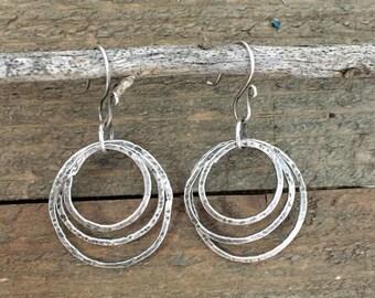 Triple Hoop Dangle Sterling Silver Earrings, Circle Earrings, Hammered Hoops, Layered Circle Dangle Earrings