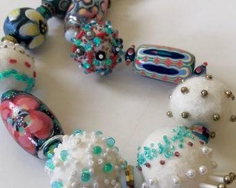 Winter whites statement bead necklace