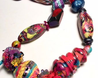 One of a kind art to wear bead necklace.