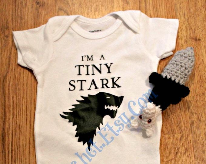 Jon Snow Crochet Longclaw Sword Rattle Game of Thrones Onesie and Wolf Head Sword Rattle Set Baby Shower Gift House Stark Onesie Newborn