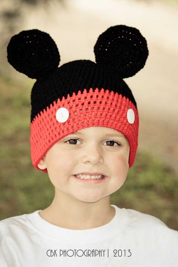 c0df2f8b190 Crochet Mickey Mouse Hat Polka Dot Beanie Size Adult Teen