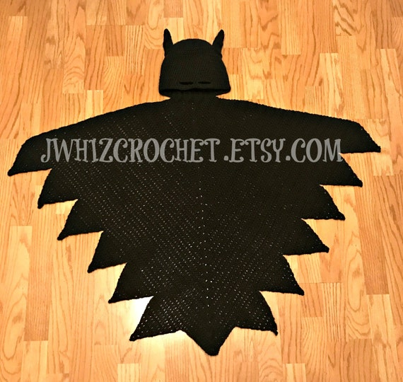 Crochet Hooded Batman Blanket Pattern Crochet Hooded Cape Toddler Sizechild Size Adult Size Batman Blanket Superhero Cape Pdf Pattern
