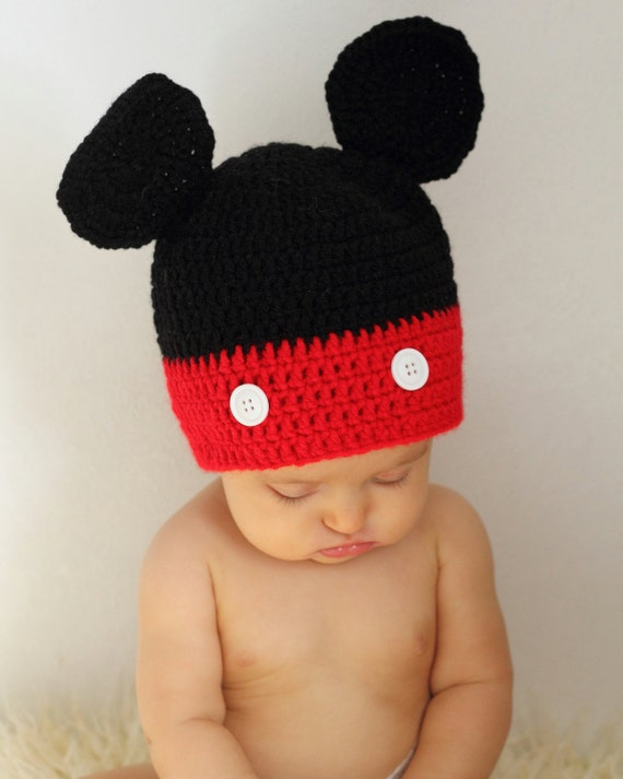 Crochet Mickey Mouse Hat Size Newborn Disney Beanie Boy  3b64a124fe2