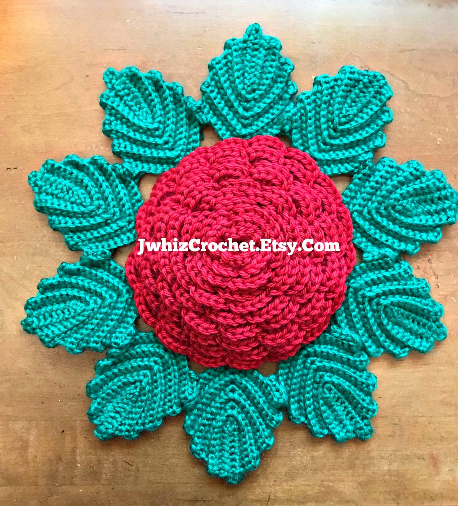 Crochet Large Rose With Leaves Pattern Rose Table Top Etsy