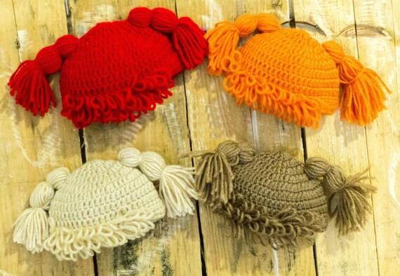 353e0048eb2 Crochet Cabbage Patch Hat Wig Hat Yarn Wig Halloween