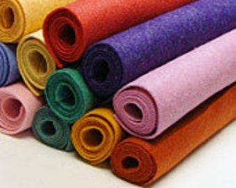 """9"""" x 12"""" -Pick 12 Wool Felt Blend Sheets- you choose colors"""