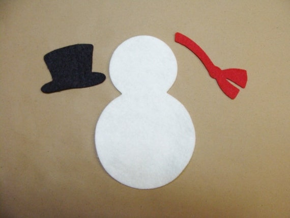 felt snowman red hat and scarf x 6  with hats die cut applique card making